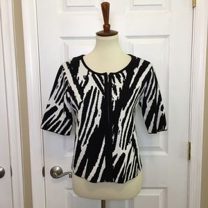 CHICO'S Black White Zebra Print Zip Cardigan